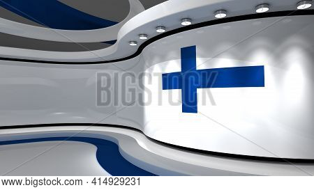 Tv Studio. Finnish Flag Studio. Finnish Flag Background. News Studio. The Perfect Backdrop For Any G