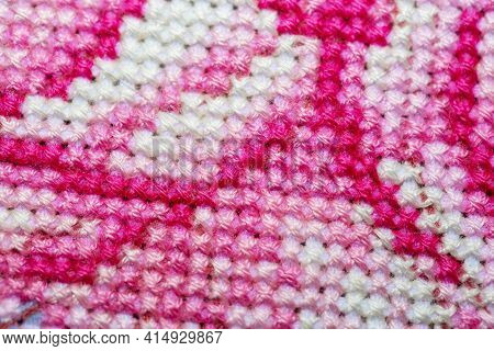 Close-up Of A Cross-stitched Section Of A Canvas With A Pattern. Piece Of Embroidery