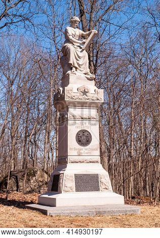 Gettysburg, Pennsylvania, Usa March 14, 2021 The 123rd New York Volunteer Infantry Regiment Monument