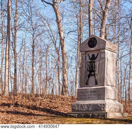 Gettysburg, Pennsylvania, Usa March 14, 2021 The 52nd New York Volunteer Infantry Regiment Monument