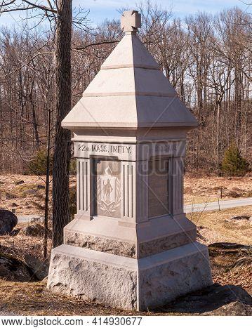 Gettysburg, Pennsylvania, Usa March 15, 2021 The 22nd Massachusetts Volunteer Infantry Regiment Monu