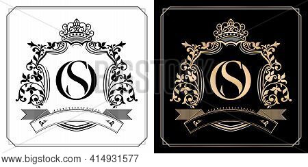 Os Royal Emblem With Crown, Initial Letter And Graphic Name Frames Border Of Floral Designs With Two