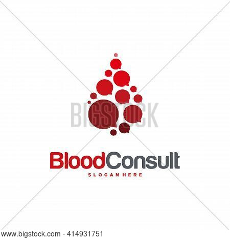 Blood Consult Logo Designs Concept Vector, Blood Donation Donor Logo Template, Blood And Chat Consul
