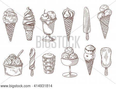 Set Of Vintage Hand Drawn Ice Cream Sketches Vector Illustration. Different Engraved Sweet Frozen De