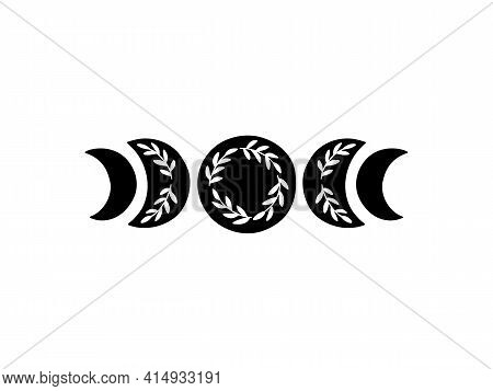 Boho Vector Illustration. Moon Phases. Contemporary Art With Crescent Moon And Branch. Celestial T S
