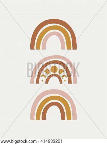 Celestial, Mystical Modern Vector Rainbow. Boho Illustration With Moon Phases On Beige Background. W