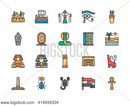 Set Of Egyptian Culture Color Line Icons. Caravan, Mummy, Scorpion And More.