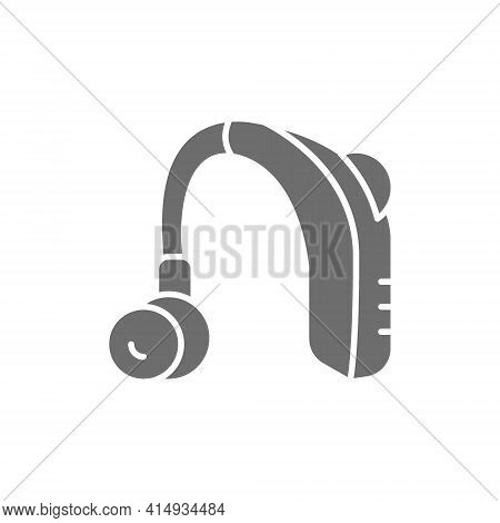 Hearing Aid Receiver In Ear Canal Gray Icon.
