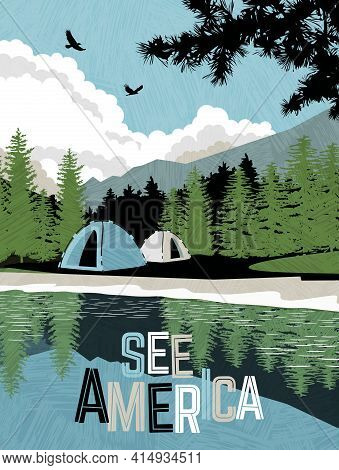 Scenic Landscape With Mountains, Forest And Lake With Camping Tents. Summer Travel Poster Or Sticker