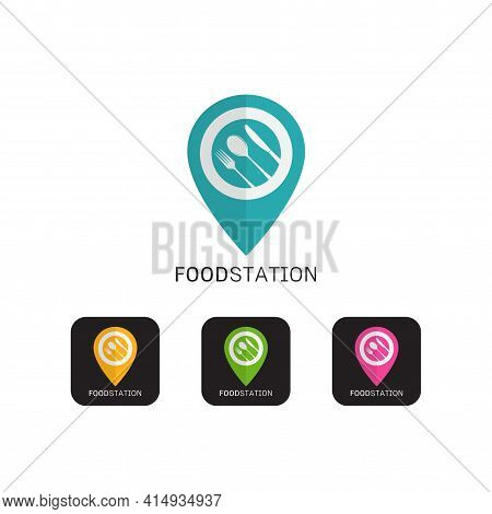 Set Of Food Station Logo Icon Concept , Cutlery Icons Trendy And Modern Cutlery Symbols For Logos, W