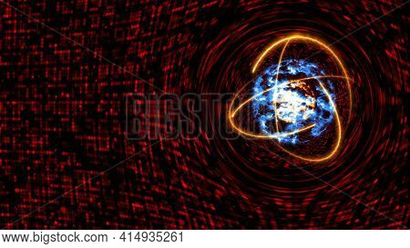 Quantum Light Red Core And Futuristic Computer Animation Abstract Background With Infinity Of Orange