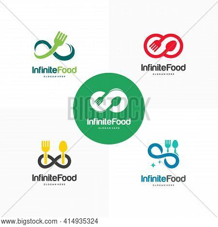 Set Of Infinity Food Restaurant Logo Designs Concept Vector, Infinity And Food Logo Template