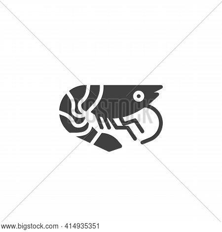 Shrimp, Prawn Vector Icon. Filled Flat Sign For Mobile Concept And Web Design. Shrimp Seafood Glyph