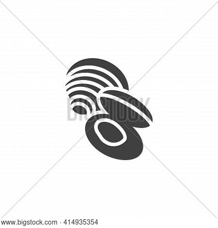 Clam Shell Vector Icon. Filled Flat Sign For Mobile Concept And Web Design. Mussels Seafood Glyph Ic