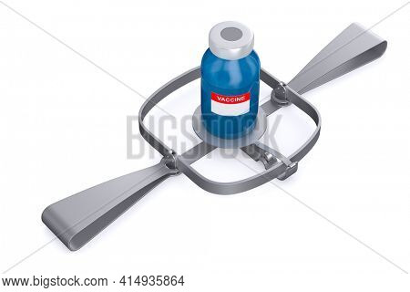 bear trap and vaccine on white background. Isolated 3D illustration