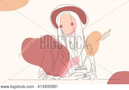 Fashion Hijab Women's Continuous Line Drawing Minimalist Design. This Vector Captures Women Wearing