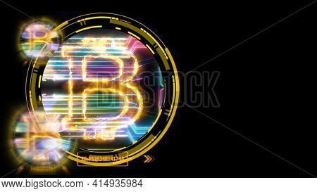 Bitcoin Cryptocurrency And Futuristic Colorful Digital Laser Transfer On Black Isolated