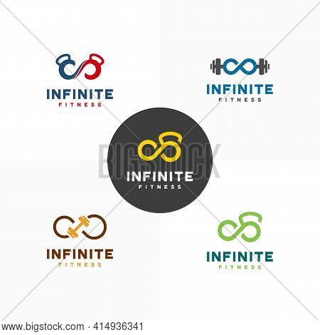 Set Of Infinity Gymnastic Logo Designs Concept Vector, Infinity Fitness Logo Template