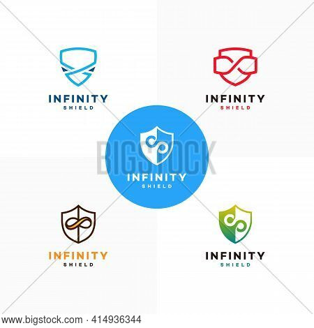 Set Of Infinity Shield Logo Designs Concept Vector, Secure And Infinity Logo Symbol Icon