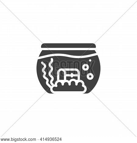 Aquarium With Treasure Chest Vector Icon. Filled Flat Sign For Mobile Concept And Web Design. Fish A