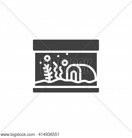 Aquarium With Seaweed Vector Icon. Filled Flat Sign For Mobile Concept And Web Design. Pet Shop Aqua