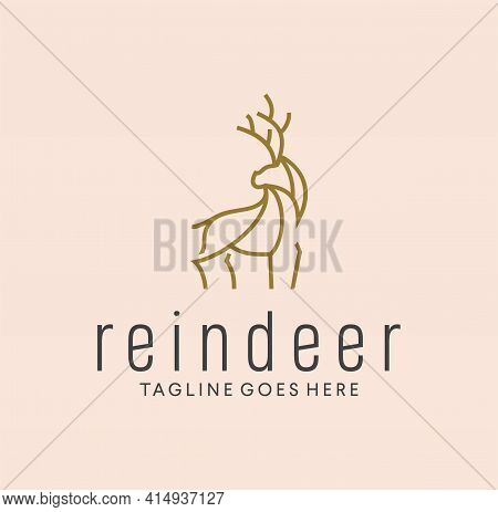 Continuous Line Drawing Deer Logo Design. Deer Logo Minimalist Line Style