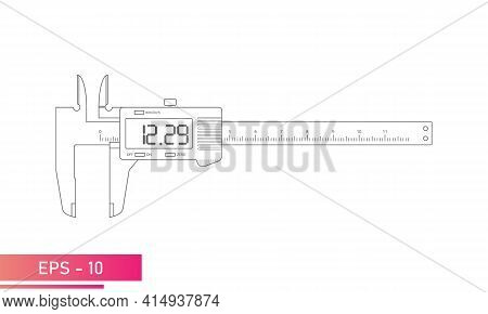 Digital Vernier Caliper With Display And Numeric Scale In Contour Design With Lines. Tools For Techn