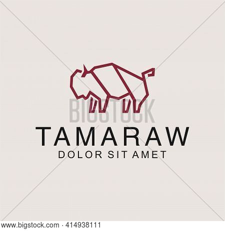 Simple Bull Logo In A Line An Outline Flat Design Style Vector. Tamaraw , Buffalo , Bison Logo Icon