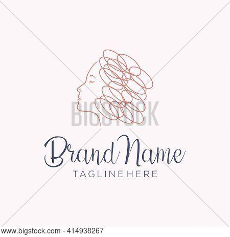 Beautiful Curly Hair Girl Logo Line Style. Beauty Women Salon Or Hair Product Logo Design