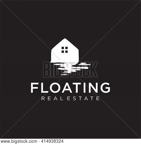 Float Home Floating House Logo Design Template On Black Background. Real Estate Silhouette Logo