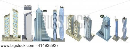 Set Of Very Detailed Modern Skyscrapers With Fictional Design And Cloudy Sky Reflection - Isolated,
