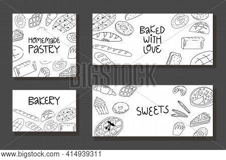 Doodle Bakery Banner, Flyer, Calling Card Template. Various American, Belgian, Italian Traditional B