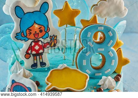 Tel Aviv - Israel, 12 March 2021: Cake Based On The Game Toka Life, For An Eight-year-old Girl For H