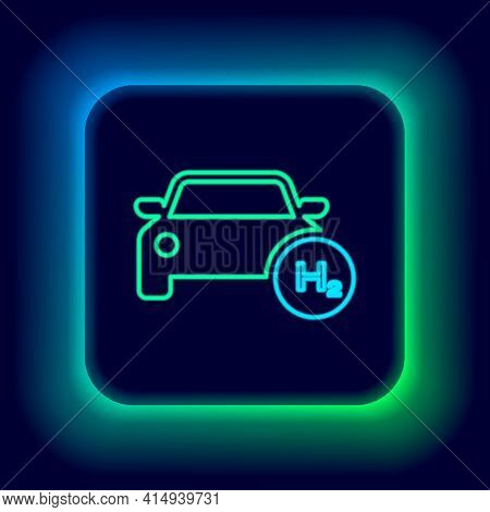 Glowing Neon Line Hydrogen Car Icon Isolated On Black Background. H2 Station Sign. Hydrogen Fuel Cel