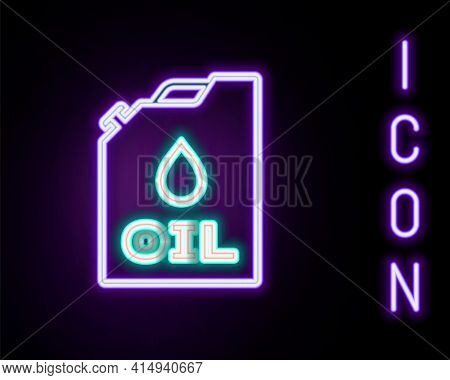 Glowing Neon Line Plastic Canister For Motor Machine Oil Icon Isolated On Black Background. Oil Gall