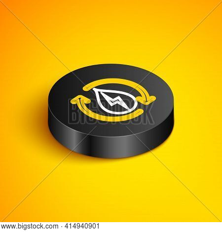 Isometric Line Recycle Clean Aqua Icon Isolated On Yellow Background. Water Recycling Energy Symbol.