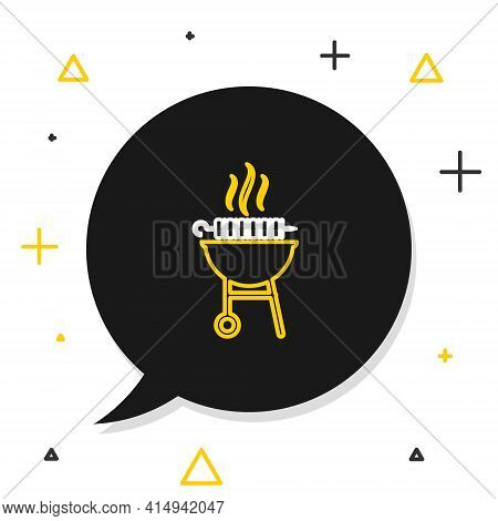 Line Barbecue Grilled Shish Kebab On Skewer Stick Icon Isolated On White Background. Bbq Meat Kebab