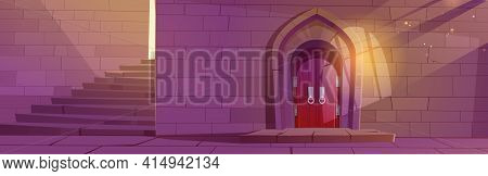 Medieval Dungeon Or Castle Interior With Wooden Arched Door, Stone Stairs And Brick Wall, Entry To P
