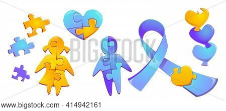 Set Autism World Day Awareness, Colorful Puzzle Pieces, Child Girl And Boy Silhouette, Heart Figure