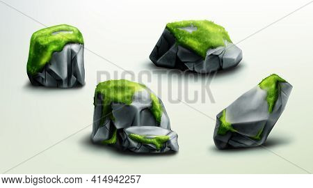 Mountain Rocks With Green Moss, Stones Or Boulders Natural Elements For Design, Geological Materials