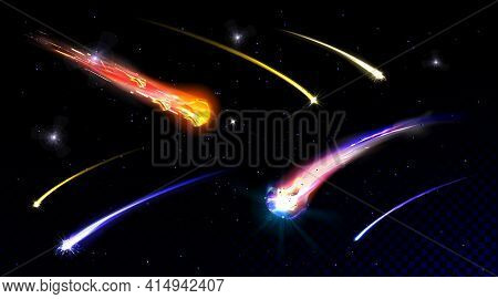 Star Shooting, Comets In Starry Sky Or Deep Space Falling With Fire Trail. Meteorites On Galaxy Back