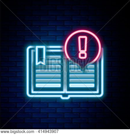 Glowing Neon Line Interesting Facts Icon Isolated On Brick Wall Background. Book Or Article Sign. Ex