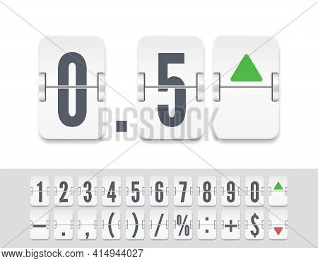 Stock Exchange Vector Mechanic Board. Flip Number And Symbol Scoreboard. White Analog Flip Airport B