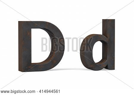 Rusty Letter D - Three Dimensional Uppercase And Lowercase D On White Background - 3d Render