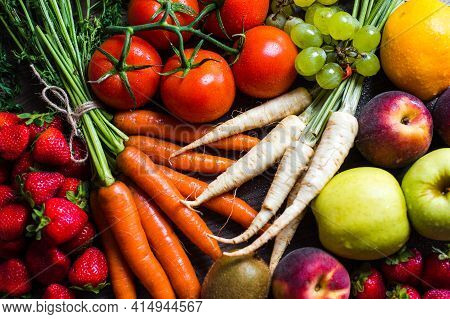 Healthy Fruits And Vegetables. Fresh Vegetables And Fruits