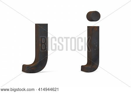Rusty Letter J - Three Dimensional Uppercase And Lowercase J On White Background - 3d Render