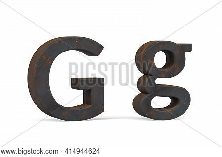Rusty Letter G - Three Dimensional Uppercase And Lowercase G On White Background - 3d Render