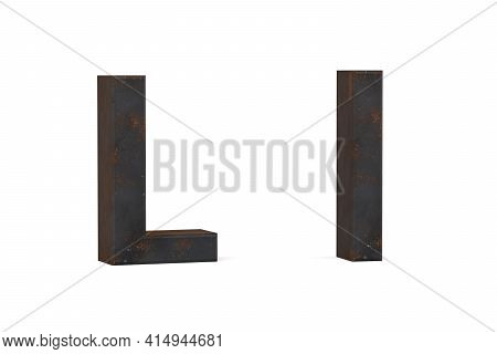 Rusty Letter L - Three Dimensional Uppercase And Lowercase L On White Background - 3d Render