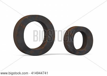 Rusty Letter O - Three Dimensional Uppercase And Lowercase O On White Background - 3d Render