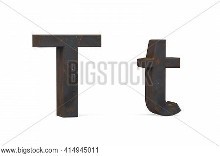 Rusty Letter T - Three Dimensional Uppercase And Lowercase T On White Background - 3d Render